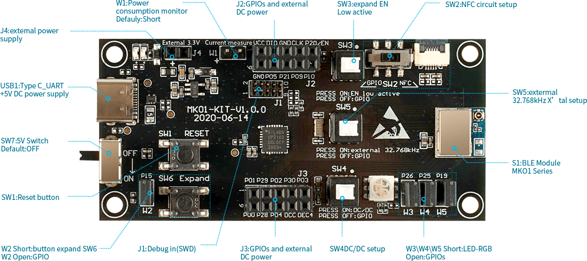 development board for small bluetooth module mk01