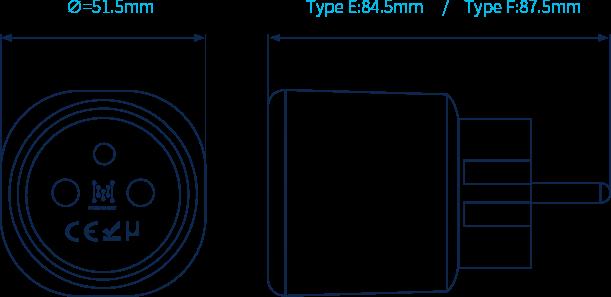 mk105 esp32 gateway plug Dimensions